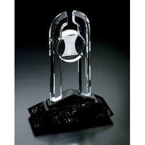 Fine Lead Crystal Large Partnership Award w/ Marble Base