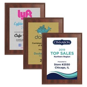"5"" x 7"" Cherry Finish Plaque w/ Full Color Sublimated Imprint"