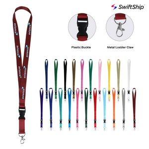 "3/4"" Full Color Dye Sublimated Lanyard w/ Buckle and Lobster Hook"
